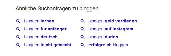"""Bei Google unterhalb der Suchergebnisse zum Thema """"Bloggen"""" gefunden."""