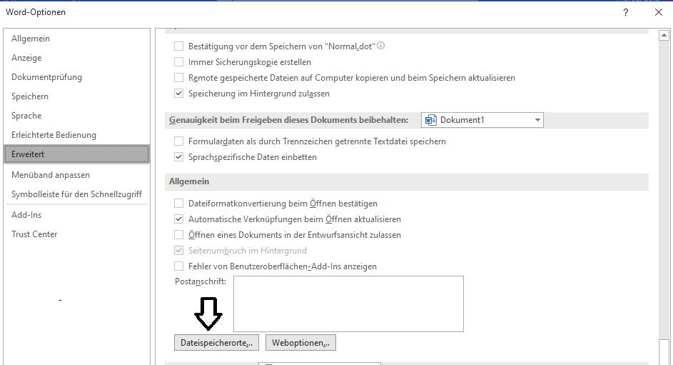Dateispeicherorte ändern