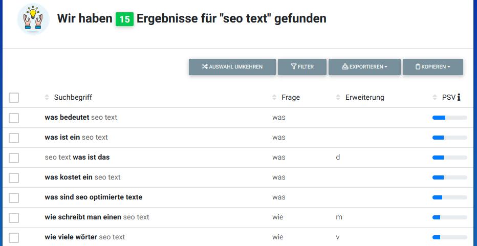 Das W-Fragen-Tool von Hypersuggest gibt in der kostenlosen Version nur die ersten 10 Fragen aus.