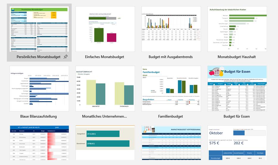 Selbst in Excel kannst du bereits viele kostenlose Excel-Vorlagen herunterladen.